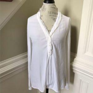 Ramy Brook Peasant Top Shirt Small White Boho